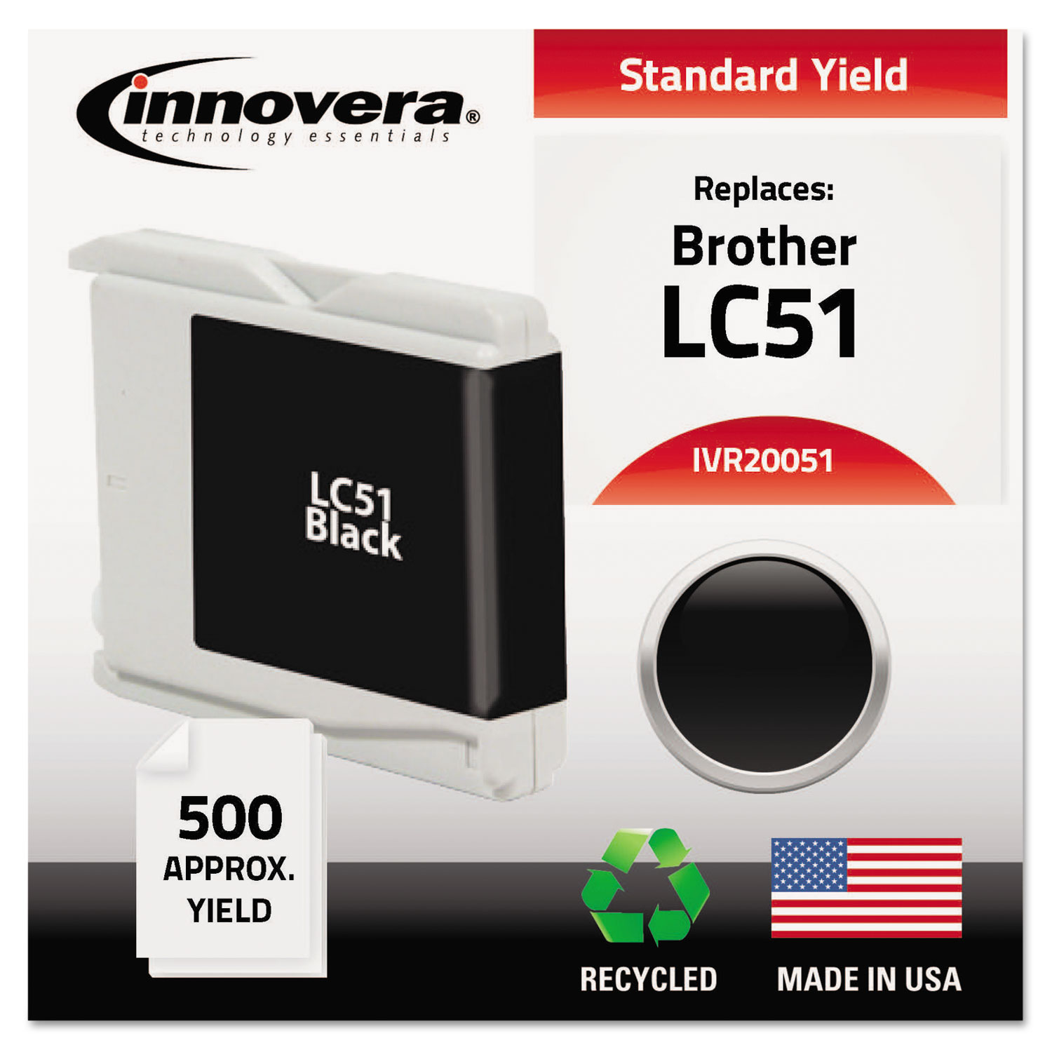 Remanufactured LC51BK Ink, 500 Page-Yield, Black