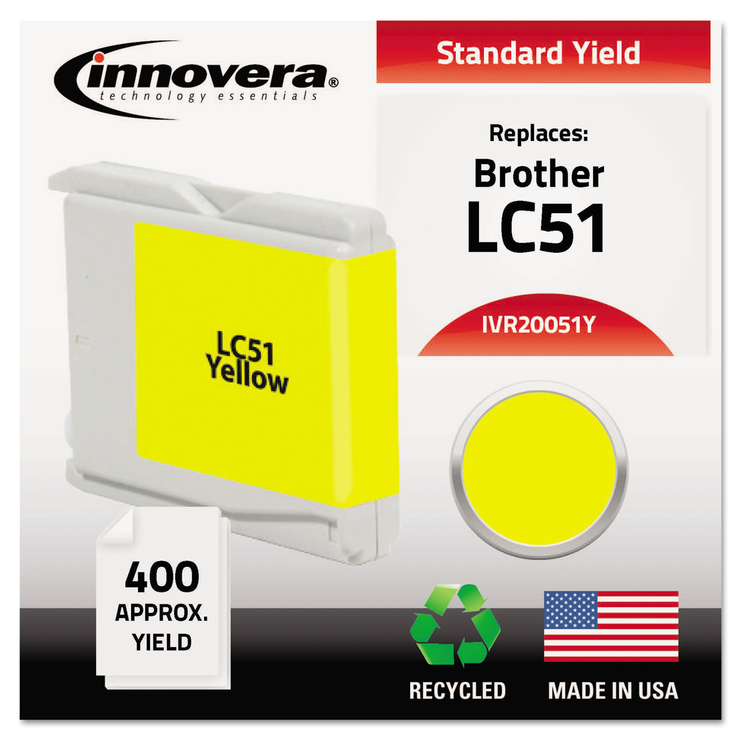 Remanufactured LC51Y Ink, 400 Page-Yield, Yellow