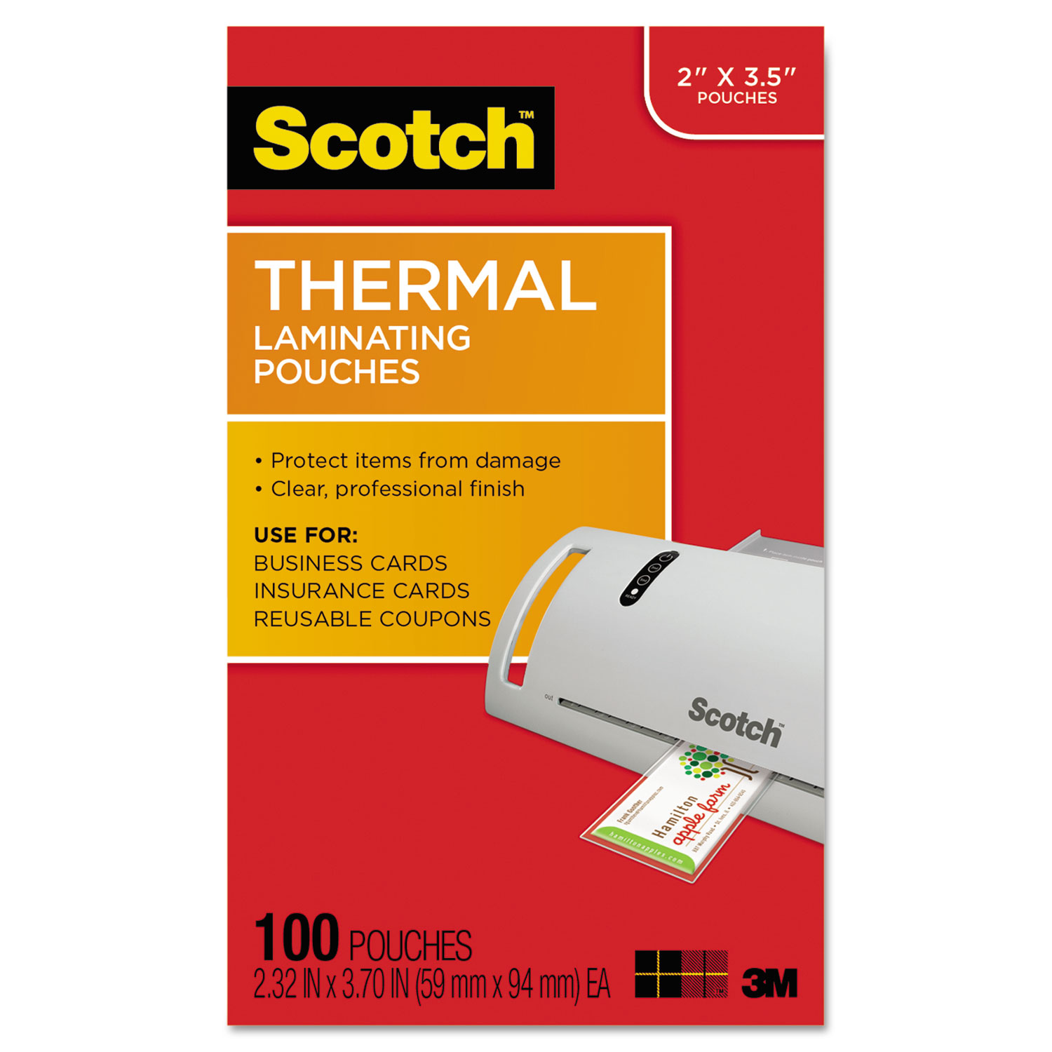 """Laminating Pouches, 5 mil, 3.75"""" x 2.38"""", Gloss Clear, 100/Pack"""