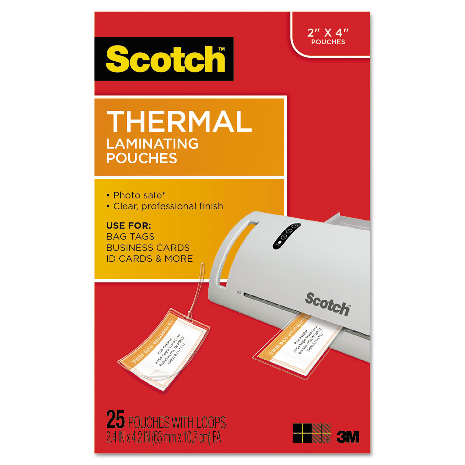 Luggage Tag Size Thermal Laminating Pouches By Scotch