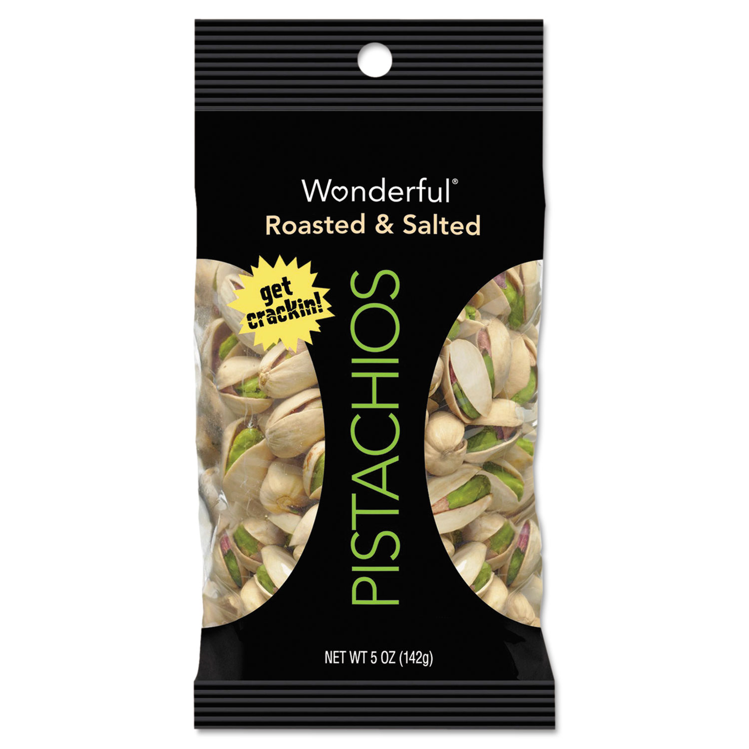 Wonderful Pistachios, Roasted and Salted, 1 oz Pack, 12/Box