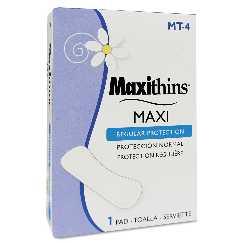 Maxithins Vended Sanitary Napkins #4, 250 Individually Boxed Napkins/Carton