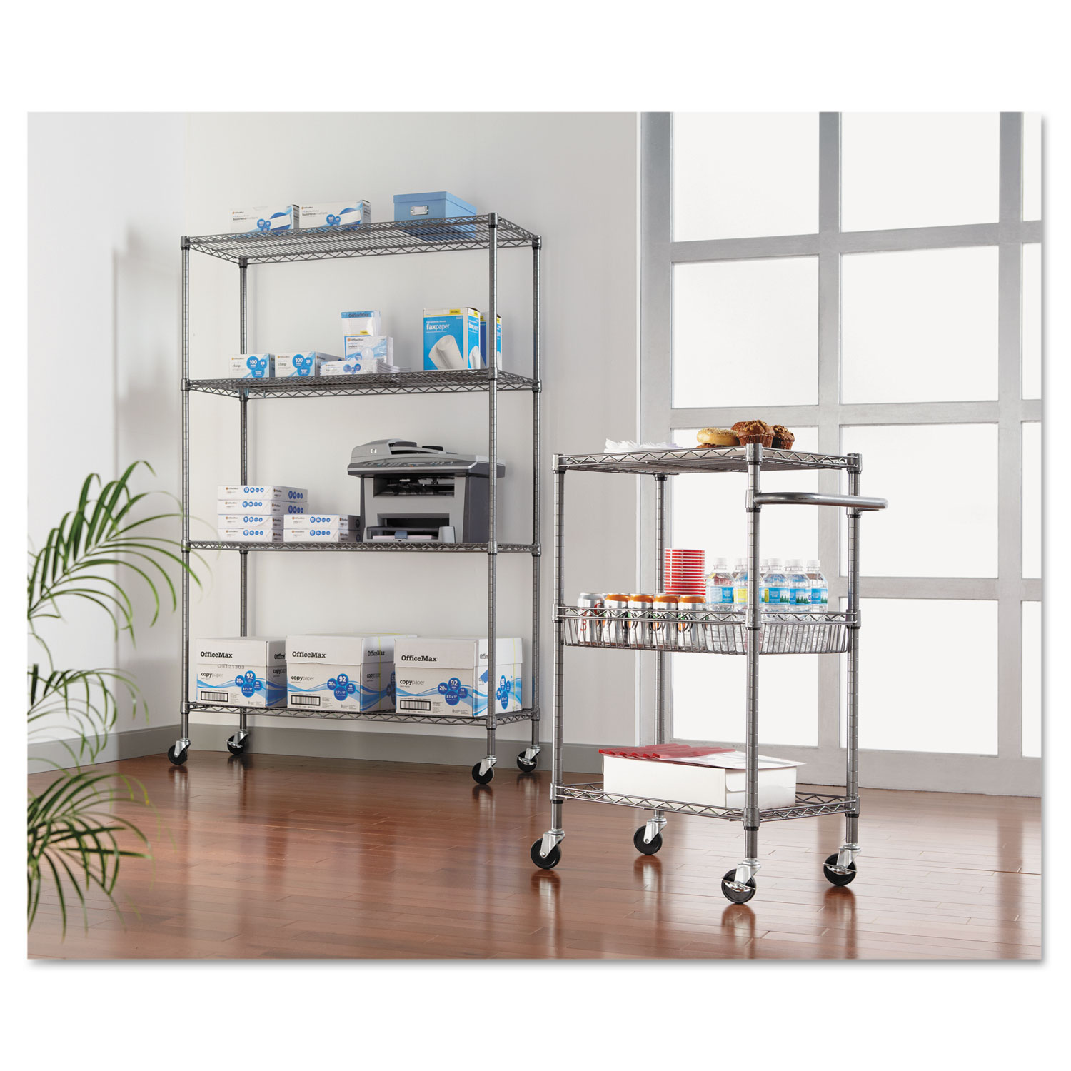 Complete Wire Shelving Unit w/Caster by Alera® ALESW604818BA ...