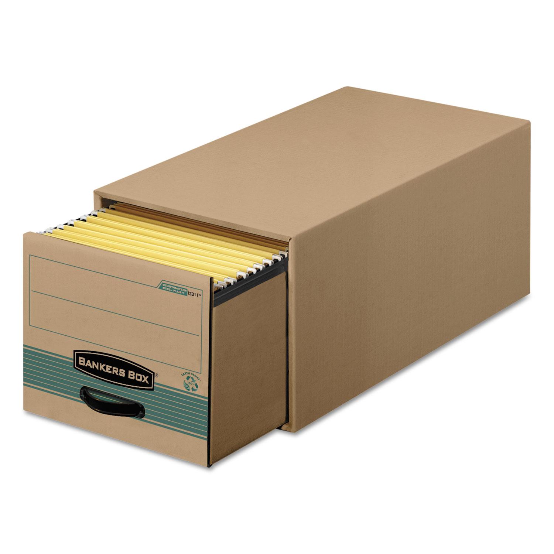 Super STOR/DRAWER Steel Plus Storage Box, Legal, Kraft/Green, 6/Carton