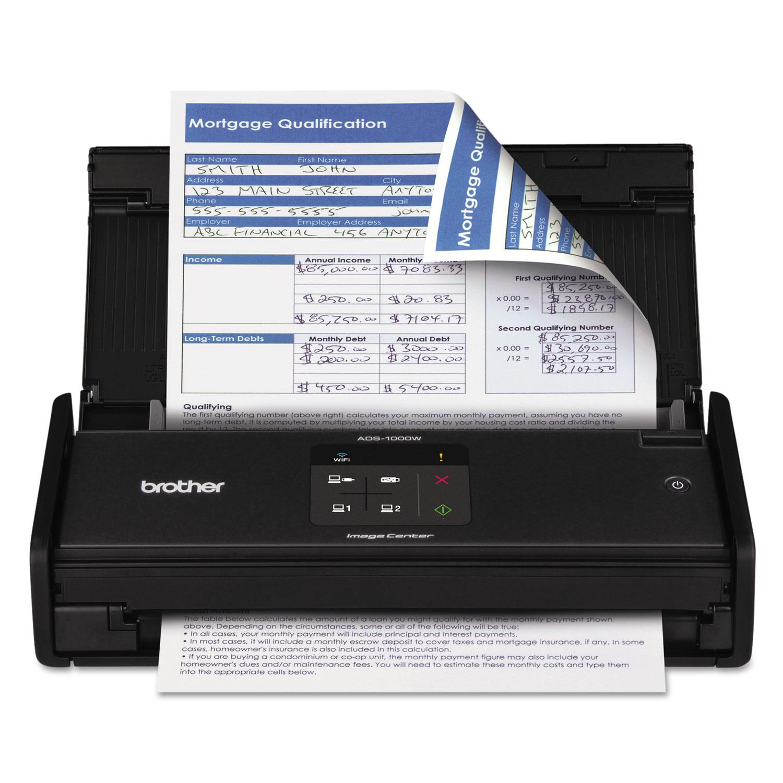 ImageCenter ADS-1000W Wireless Compact Scanner, 600 x 600 dpi, 20 Sheet ADF