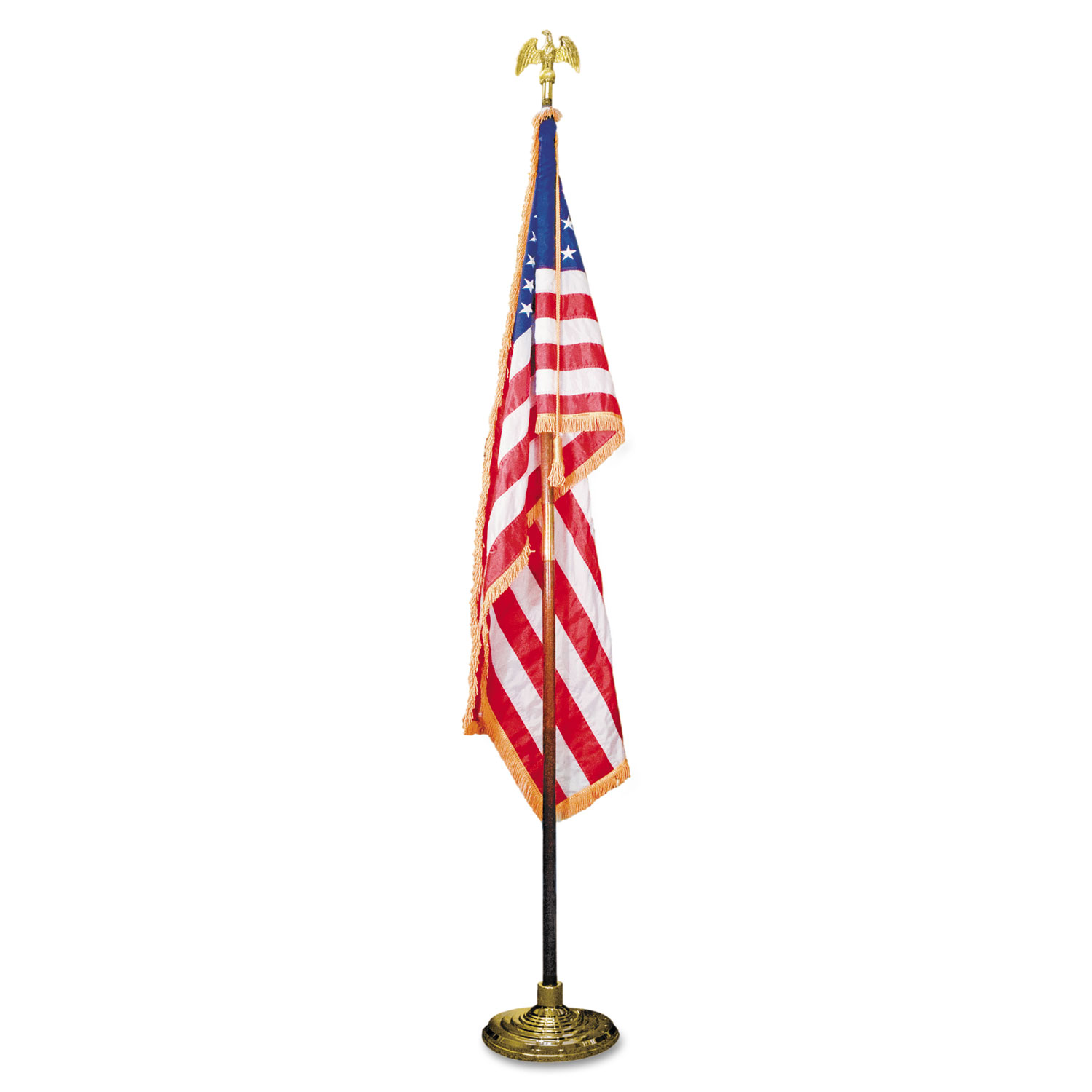 "Deluxe 3 ft x 5 ft U.S. Flag, 8 ft Oak Staff, 2"" Gold Fringe, 7"" Goldtone Eagle"