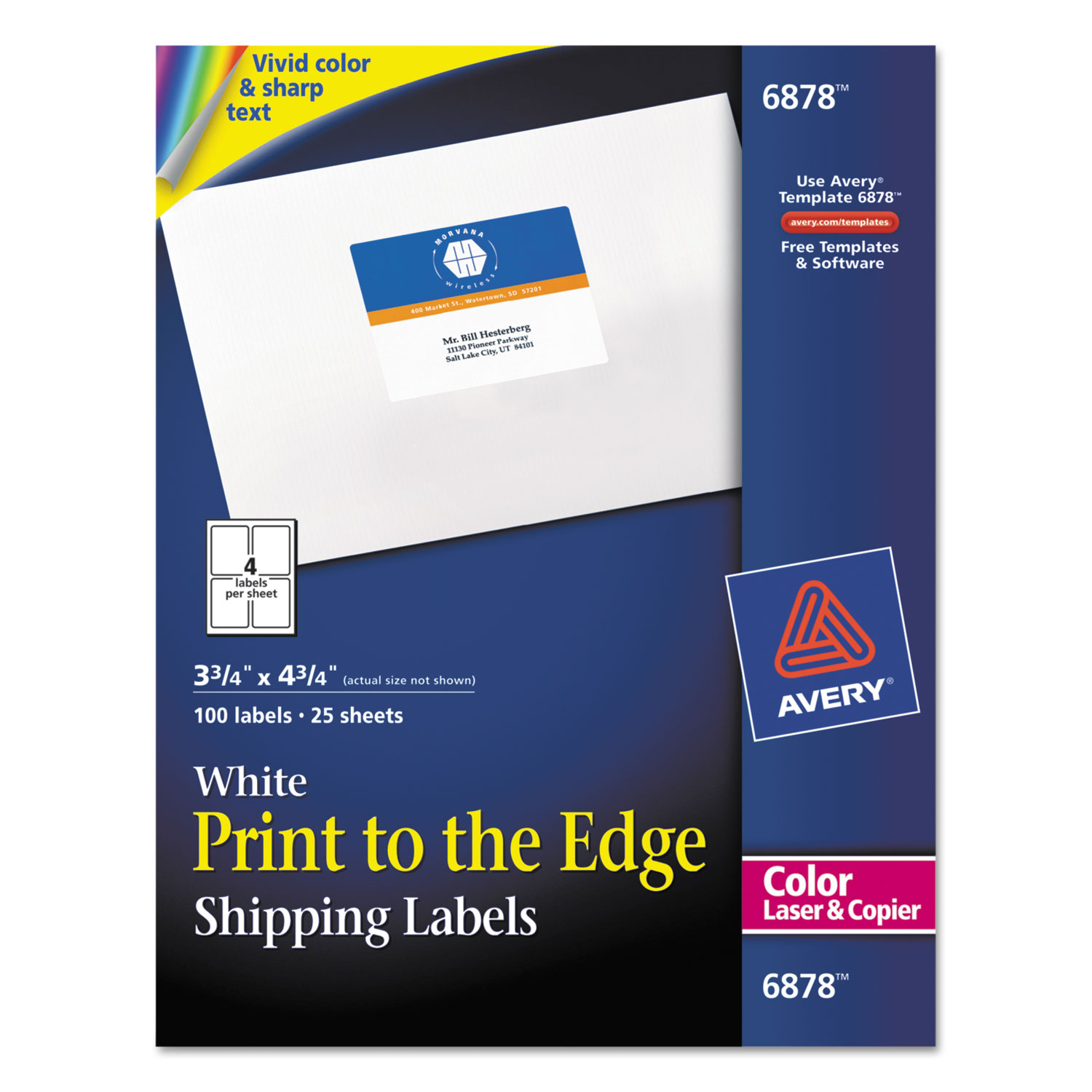 Vibrant ColorPrinting Shipping Labels By Avery AVE - Copier labels template