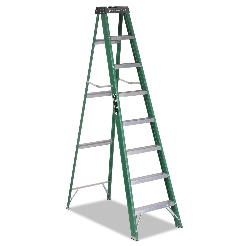 Fiberglass Step Ladder, 8 ft Working Height, 225 lbs Capacity, 7 Step, Green/Black