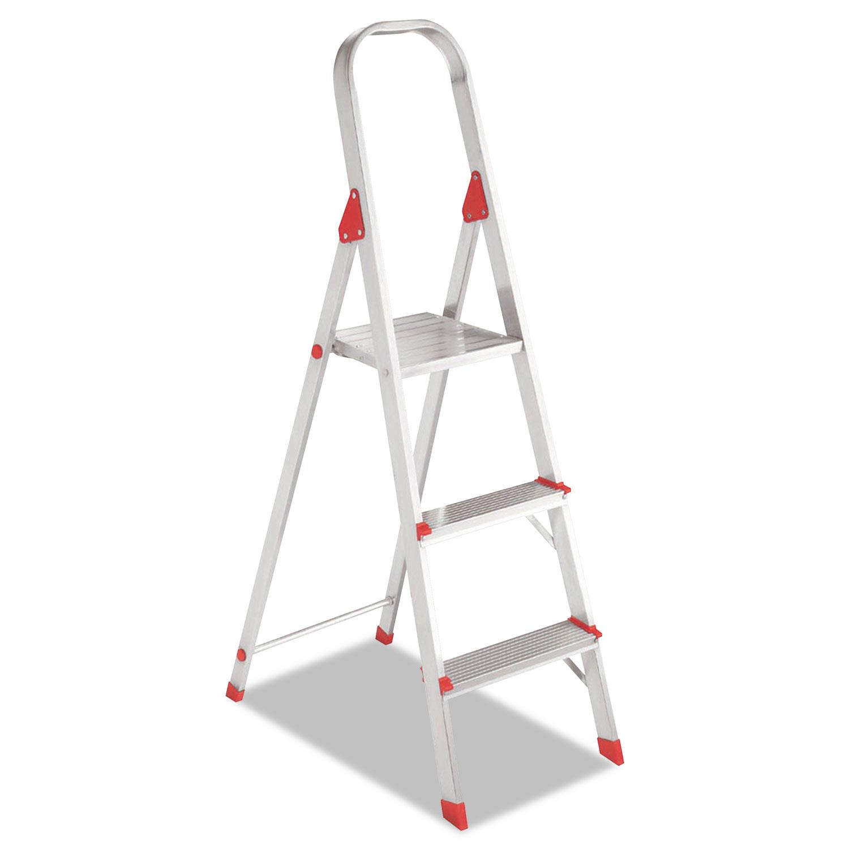 Aluminum Euro Platform Ladder, 8 ft Working Height, 200 lbs Capacity, 3 Step, Aluminum/Red