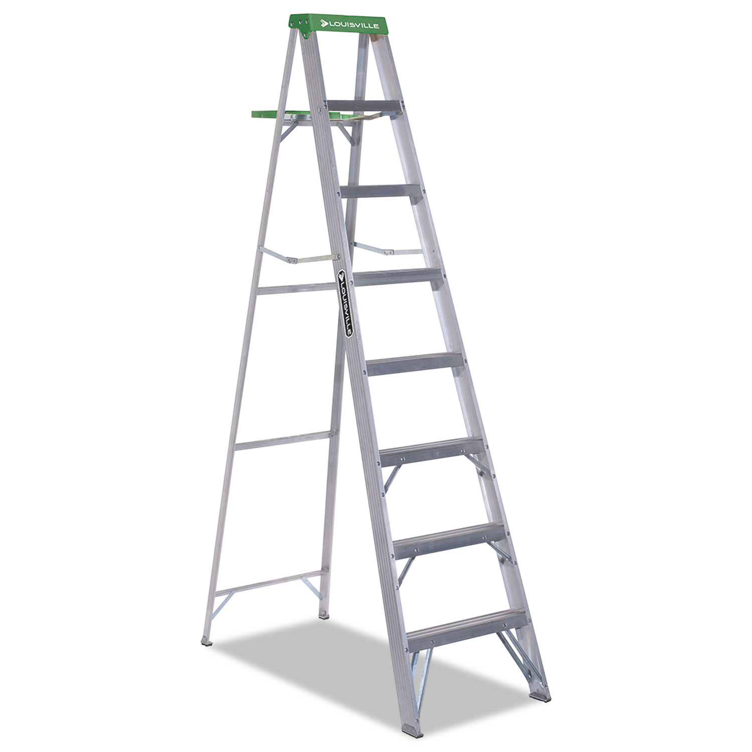 Aluminum Step Ladder, 8 ft Working Height, 225 lbs Capacity