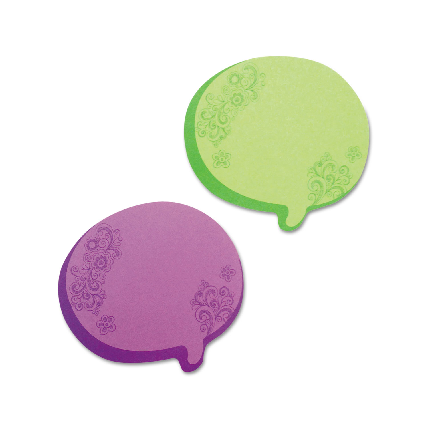 Thought Bubble Notes, 2 3/4 x 3, Green/Purple, 75-Sheet Pads, 2/Set