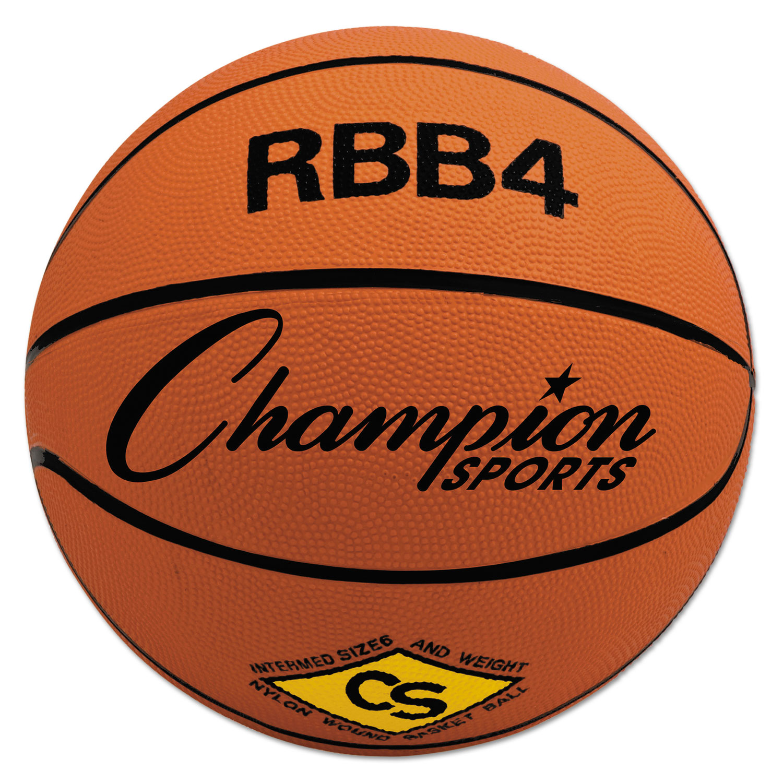 Rubber Sports Ball, For Basketball, No. 6, Intermediate Size, Orange