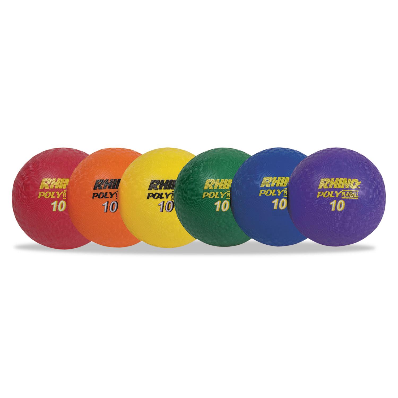 """Rhino Playground Ball Set, 10"""" Diameter, Rubber, Assorted, 6 Balls/Set"""