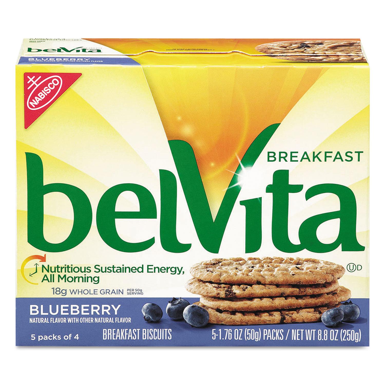 belVita Breakfast Biscuits, 1.76 oz Pack, Blueberry, 64/Carton