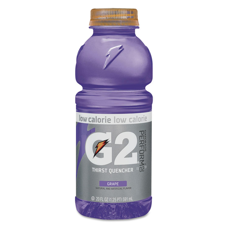G2 Perform 02 Low-Calorie Thirst Quencher, Grape, 20 oz Bottle, 24/Carton
