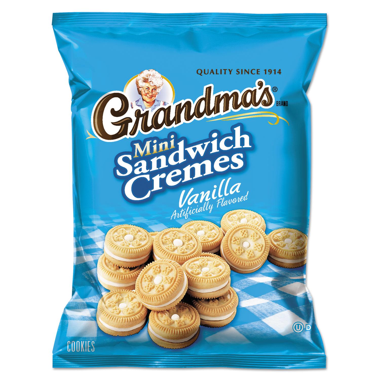 Mini Vanilla Creme Sandwich Cookies, 3.71 oz, 24/Carton