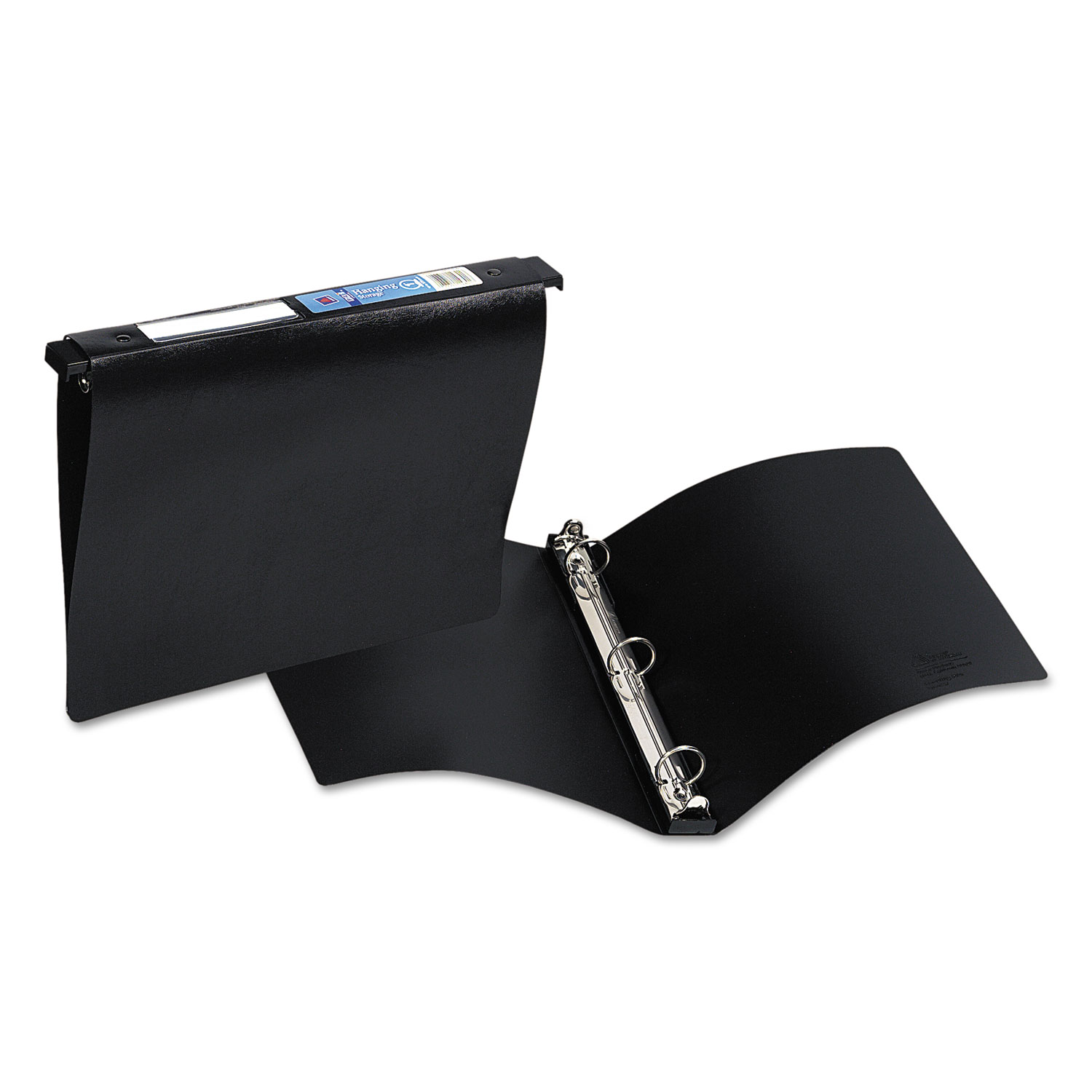 """Hanging Storage Flexible Non-View Binder with Round Rings, 3 Rings, 1"""" Capacity, 11 x 8.5, Black"""