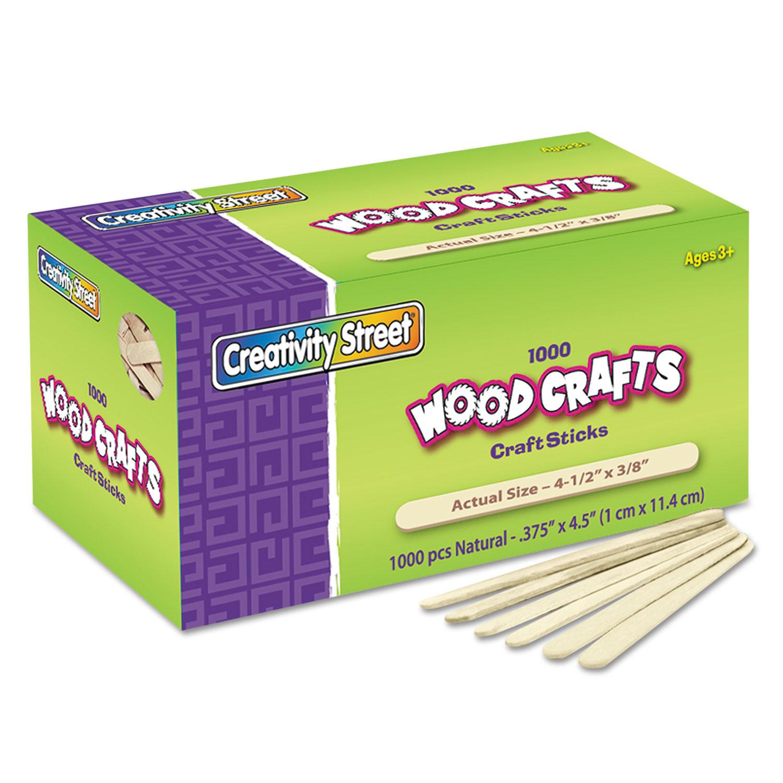 "Natural Wood Craft Sticks, 4.5"" x 0.38"", Wood, Natural, 1,000/Box"