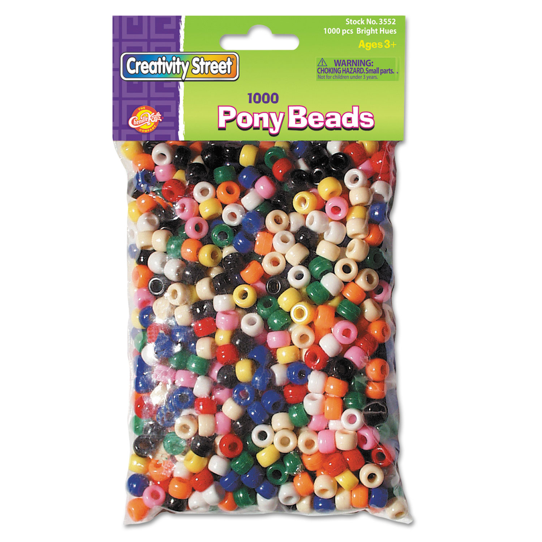 Pony Beads, Plastic, 6 mm x 9 mm, Assorted Colors, 1,000/Set