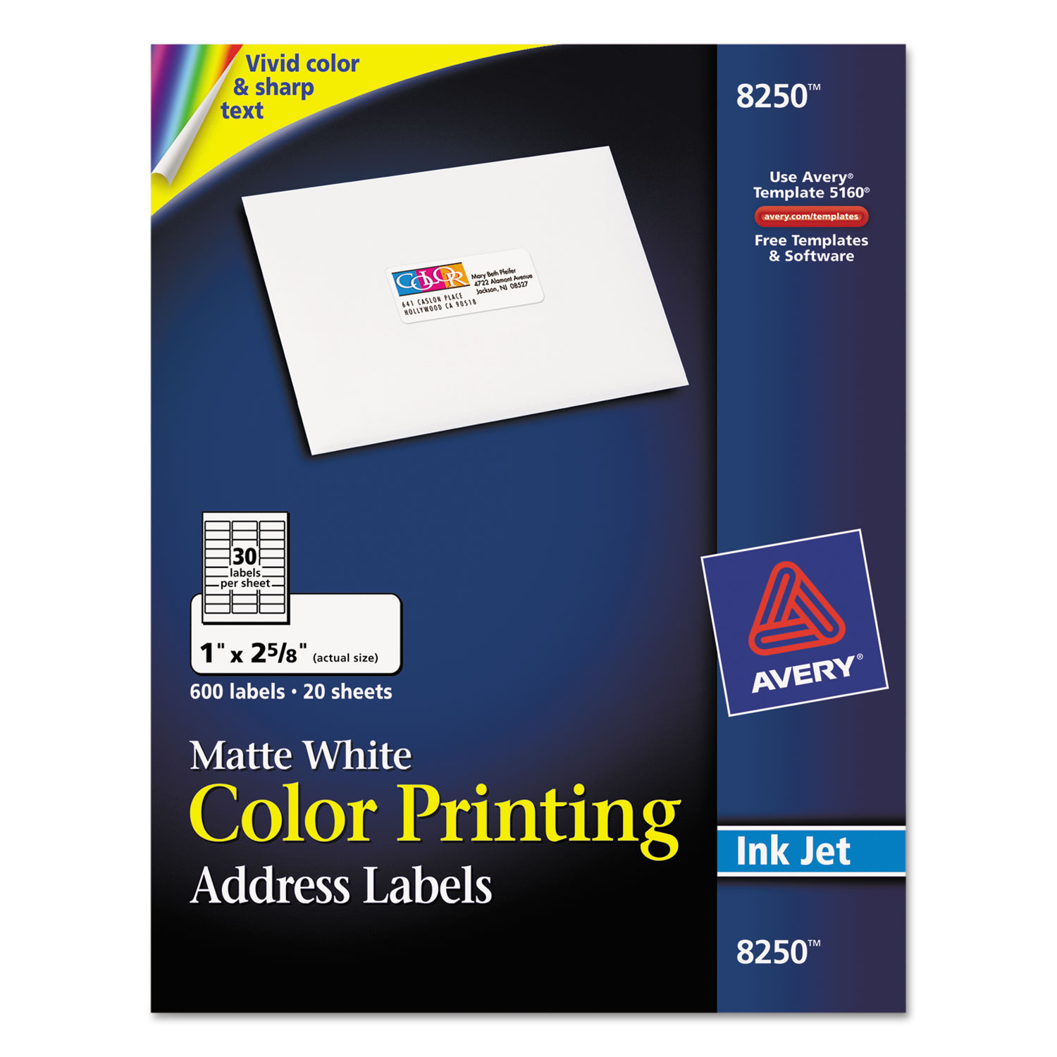 staples white mailing labels template - vibrant color printing address labels by avery ave8250