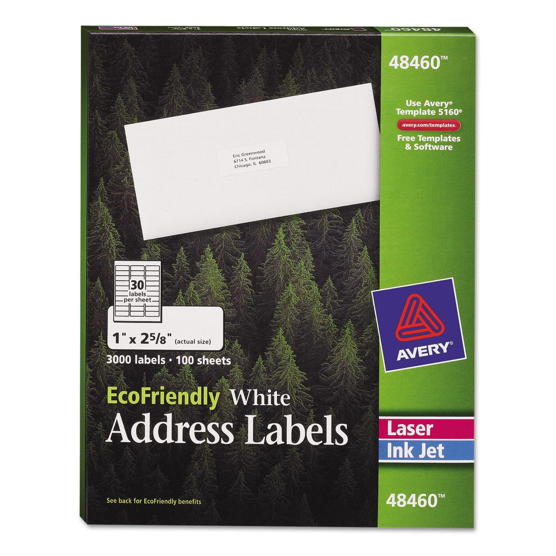 EcoFriendly Mailing Labels, Inkjet/Laser Printers, 1 x 2.63, White, 30/Sheet, 100 Sheets/Pack