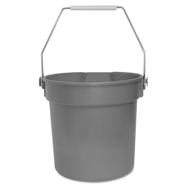Deluxe Heavy-Duty Bucket, Gray, Polypropylene, 10qt, 10 5/8dia x 10 1/4h