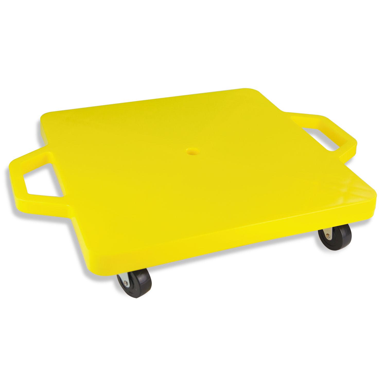 Heavy-Duty Scooter, Blue/Yellow, 4 Rubber Swivel Casters, Plastic, 16 x 16