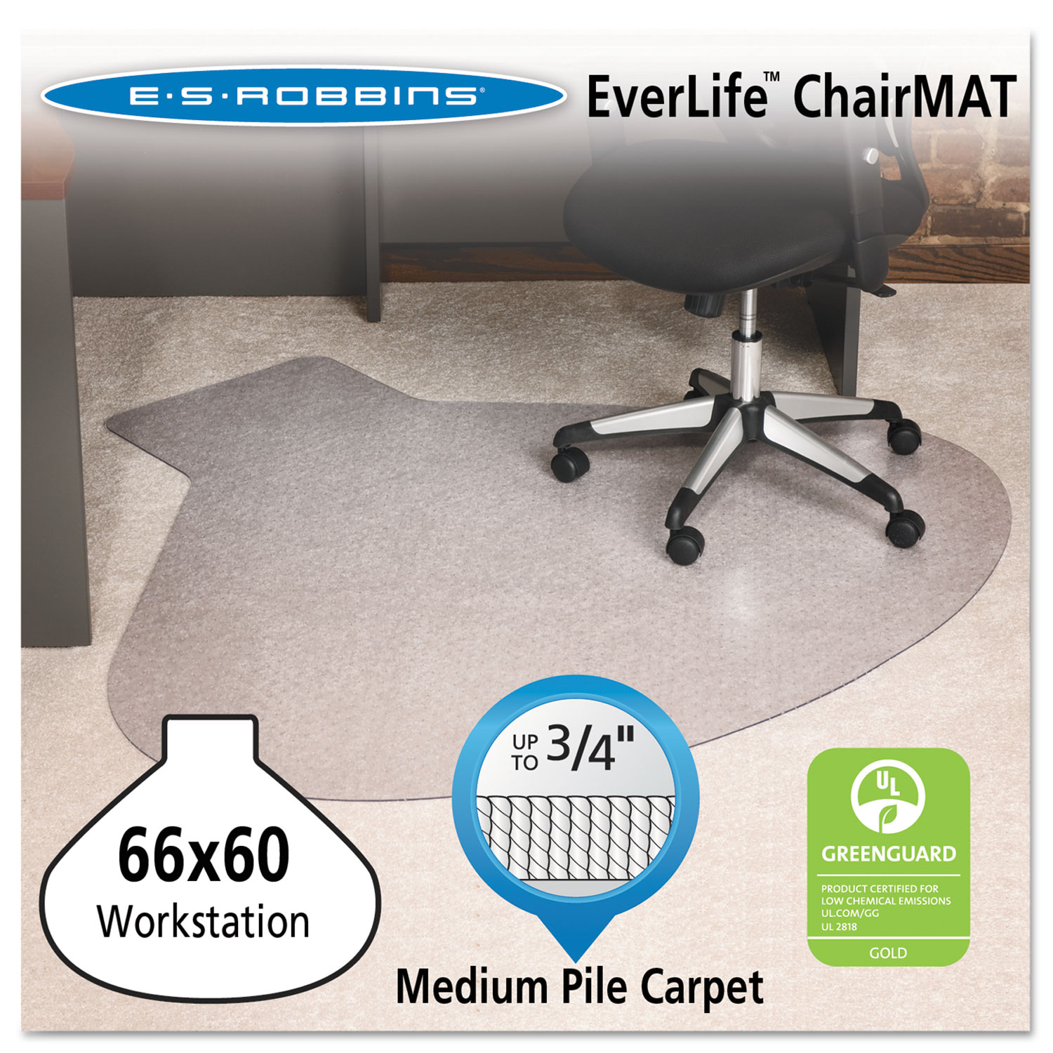 EverLife Chair Mats For Medium Pile Carpet By ES Robbins - Office chair mat