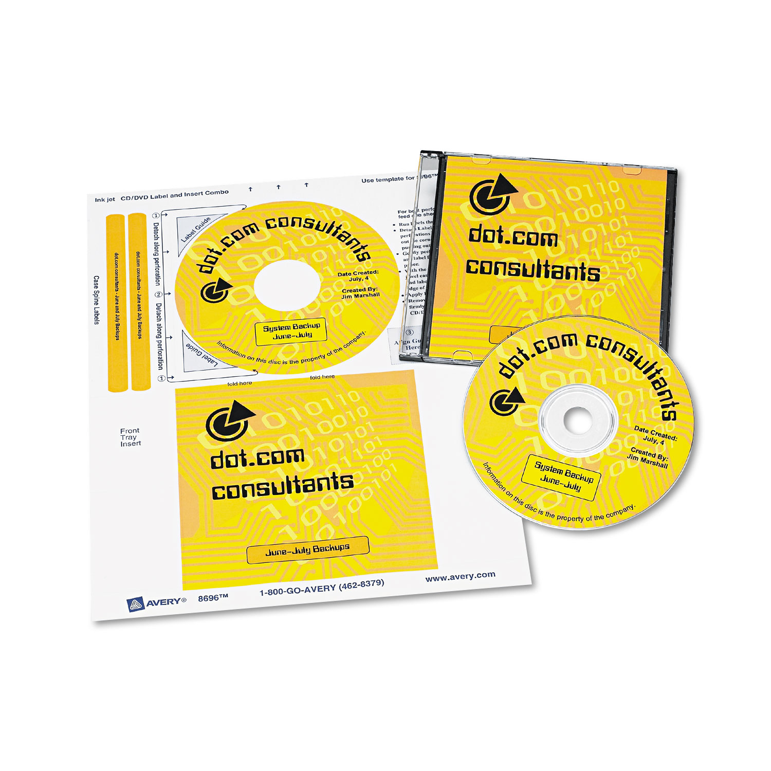 cd dvd label and insert combo sheets by avery ave8696