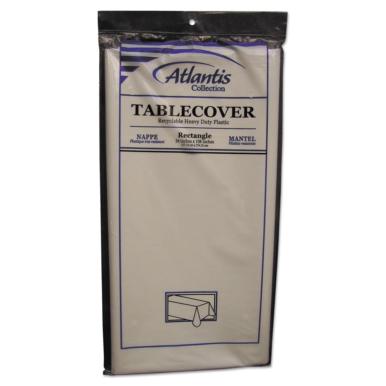 Plastic Table Cover, Rectangular, 54 x 108, White, 12/Carton