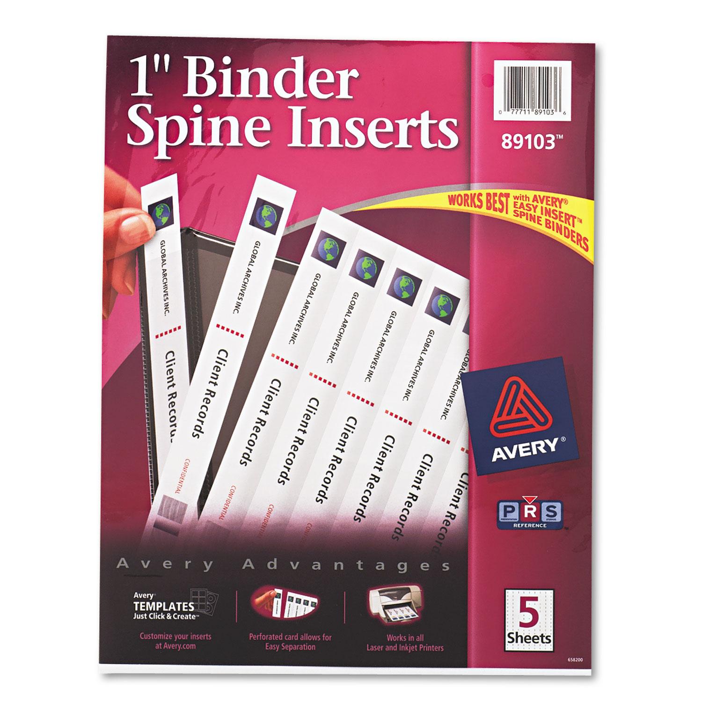 """Binder Spine Inserts, 1"""" Spine Width, 8 Inserts/Sheet, 5"""