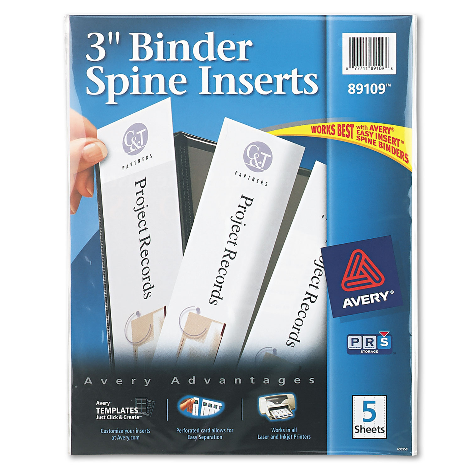 binder spine inserts by avery ave89109 ontimesupplies com