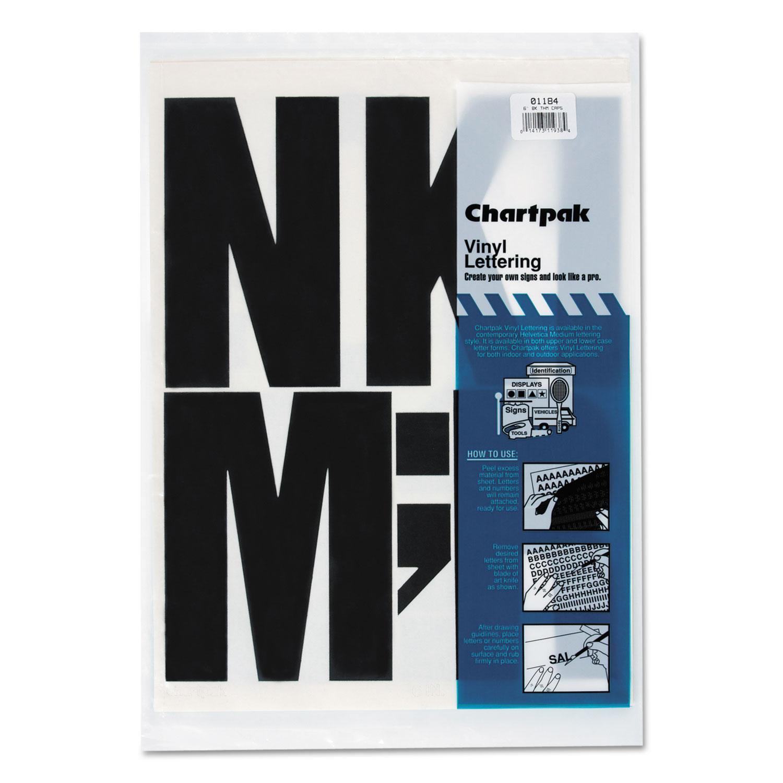 "Press-On Vinyl Uppercase Letters, Self Adhesive, Black, 6""h, 38/Pack"