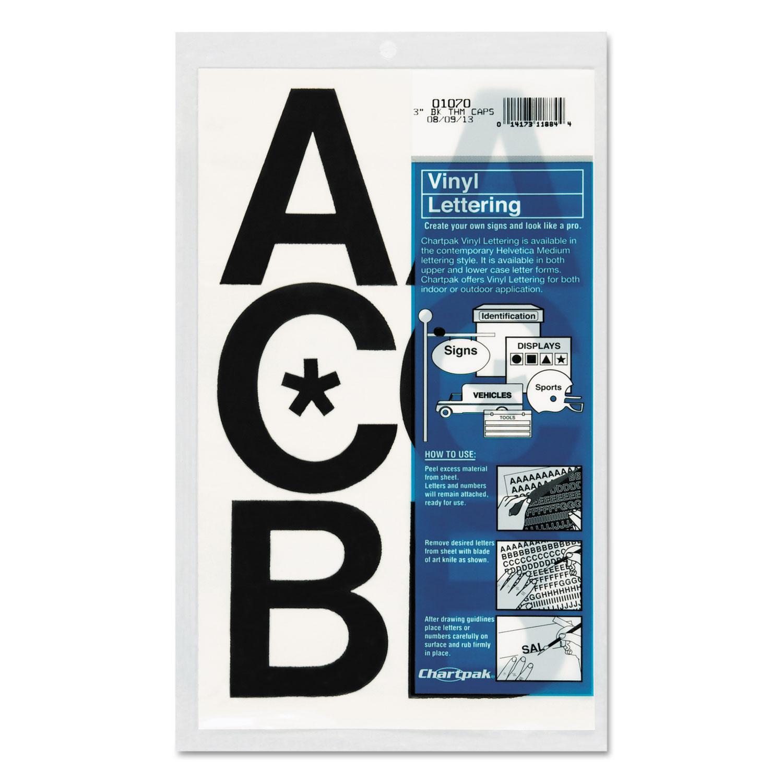 "Press-On Vinyl Uppercase Letters, Self Adhesive, Black, 3""h, 50/Pack"
