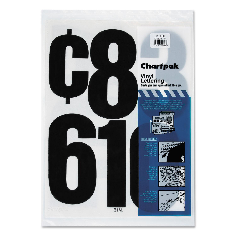 """Press-On Vinyl Numbers, Self Adhesive, Black, 6""""h, 21/Pack"""