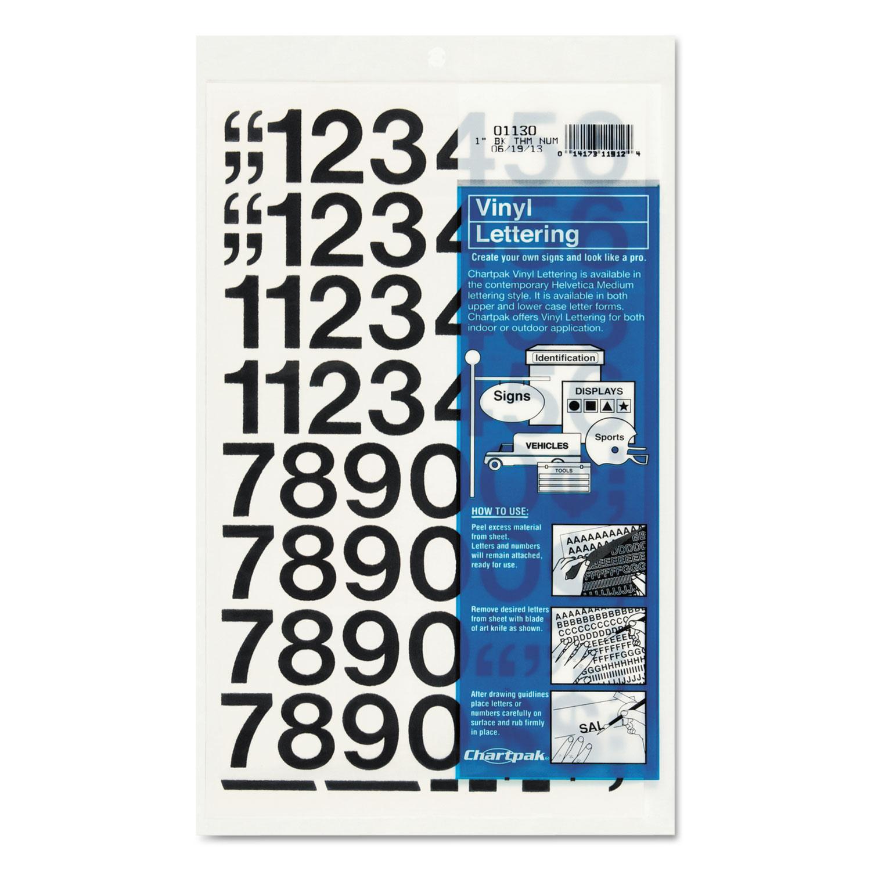 """Press-On Vinyl Numbers, Self Adhesive, Black, 1""""h, 44/Pack"""
