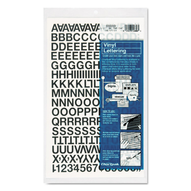"""Press-On Vinyl Letters & Numbers, Self Adhesive, Black, 1/2""""h, 201/Pack"""