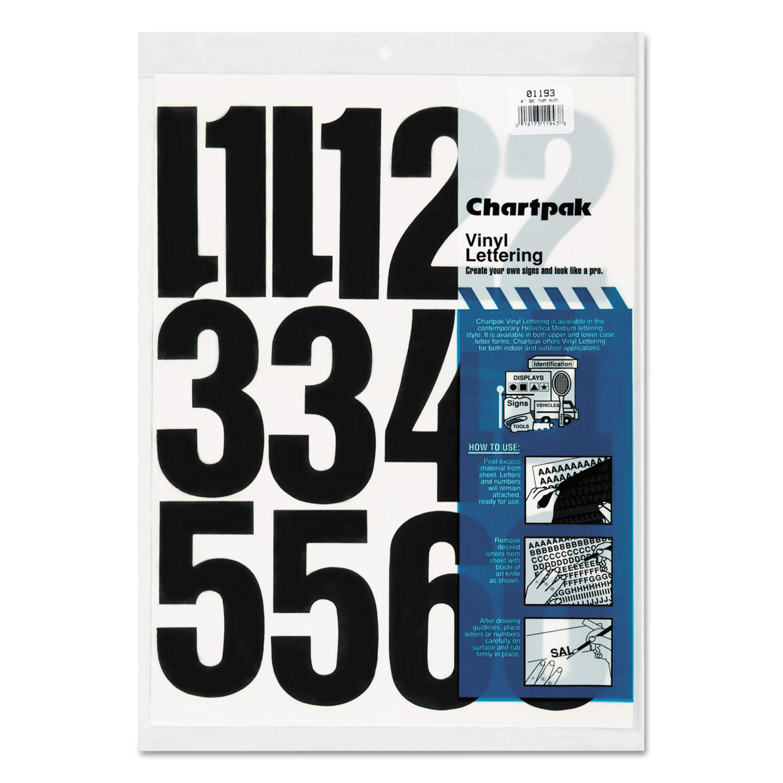 """Press-On Vinyl Numbers, Self Adhesive, Black, 4""""h, 23/Pack"""