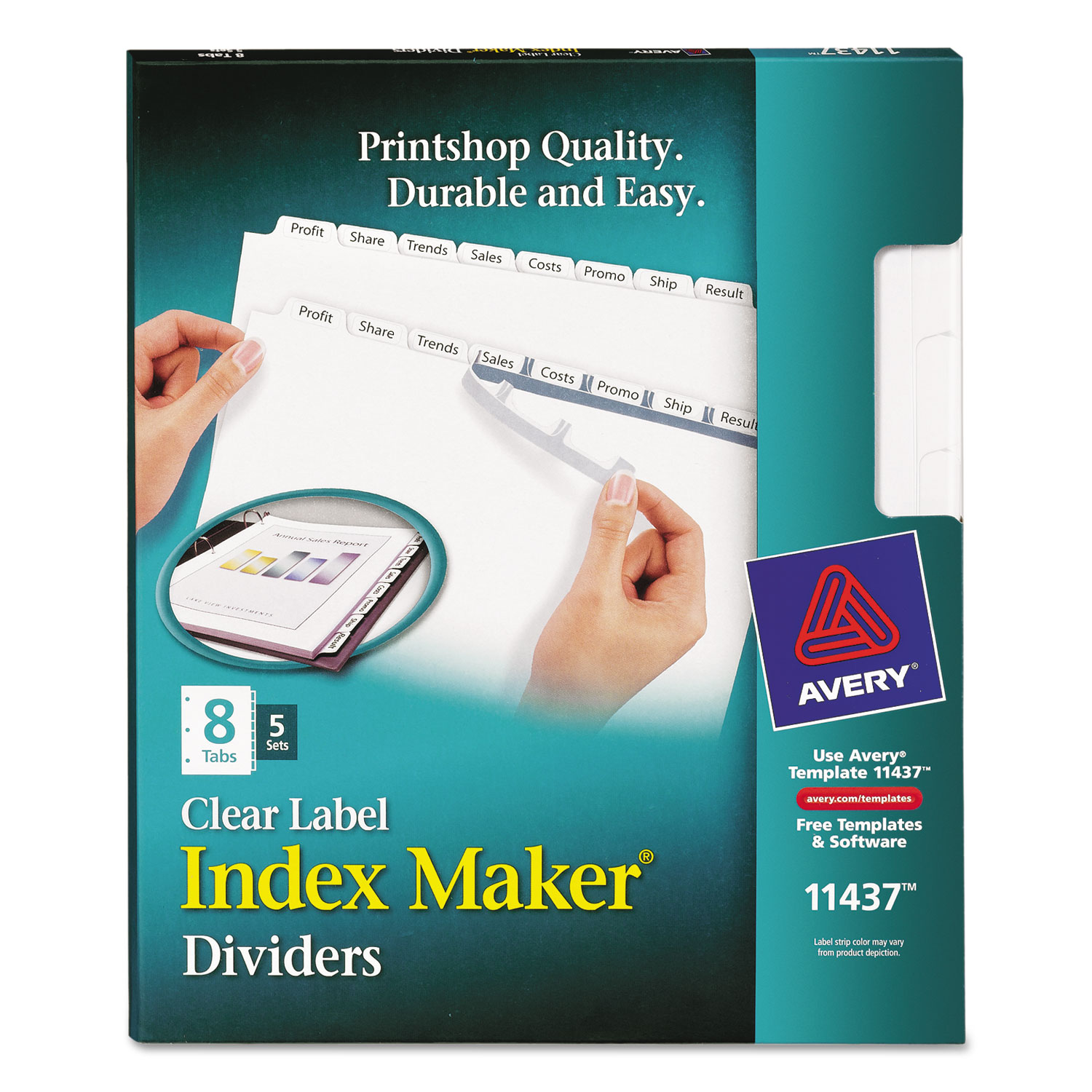 Print Apply Clear Label Dividers Wwhite Tabs By Avery Ave11437