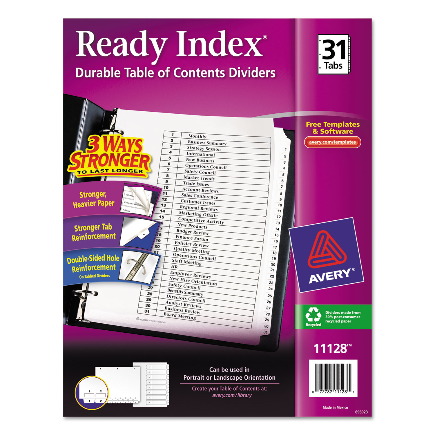 Ready Index Customizable Table of Contents Black & White Dividers by ...