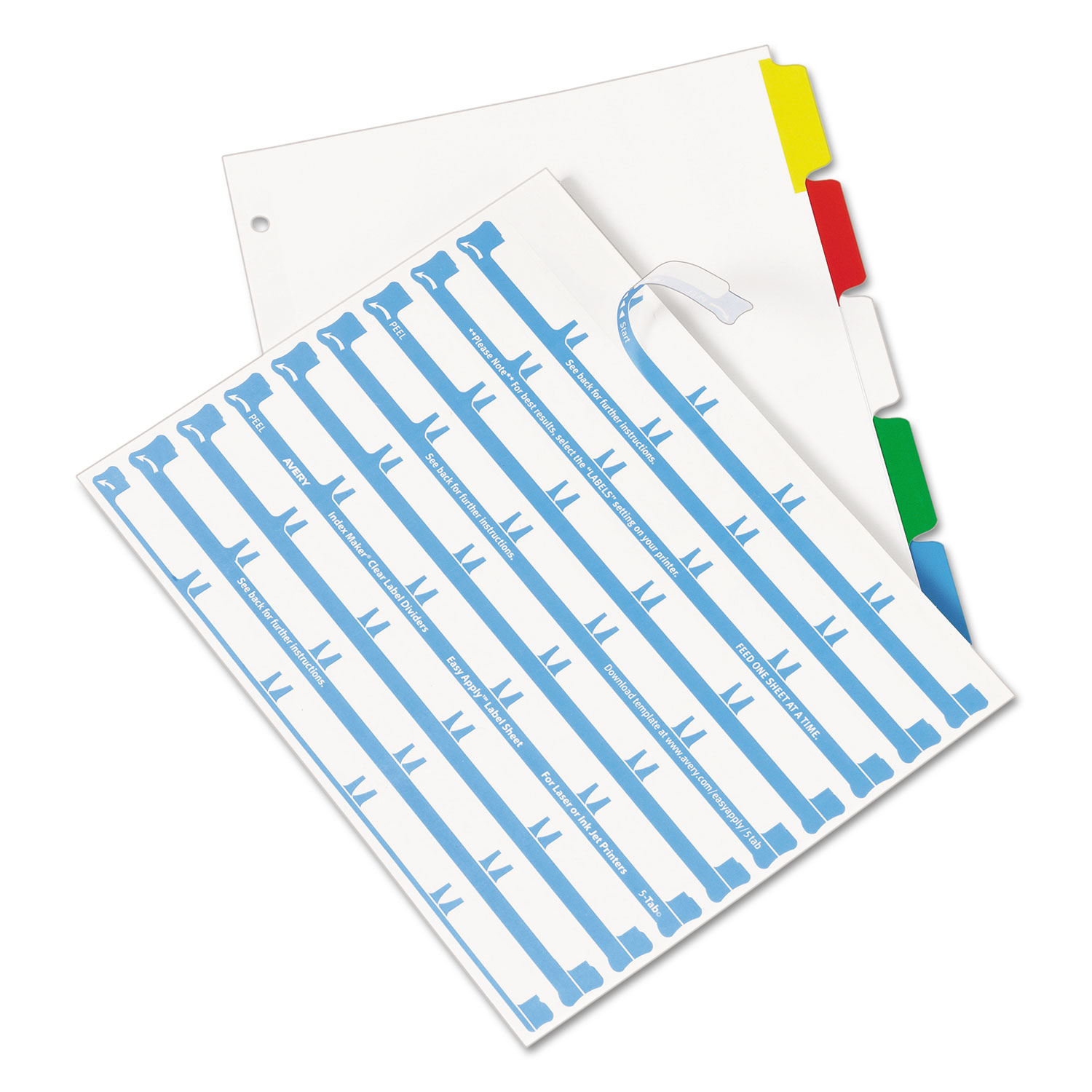 index maker print apply clear label dividers w color tabs by avery