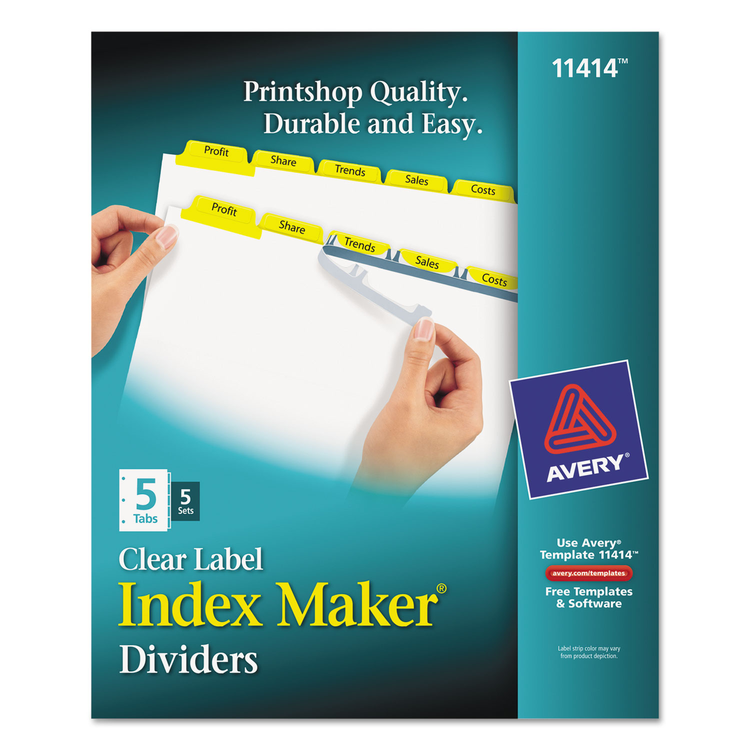 Print & Apply Clear Label Dividers w/Color Tabs by Avery® AVE11414 ...