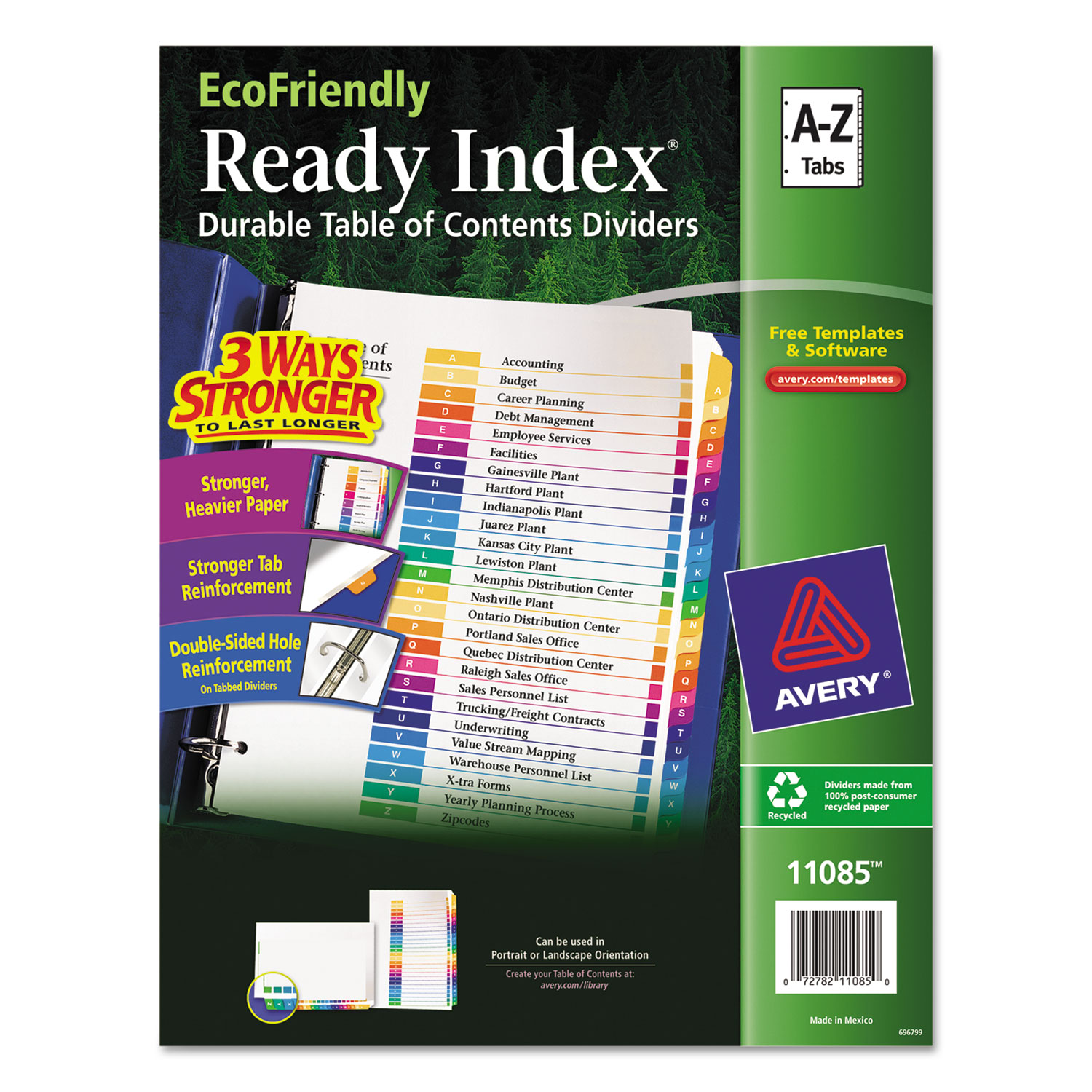Customizable Table of Contents Ready Index Dividers with Multicolor Tabs, 26-Tab, A to Z, 11 x 8.5, White, 1 Set