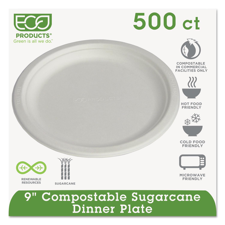 "Renewable & Compostable Sugarcane Plates, 9"", 500/Carton ECOEPP013"