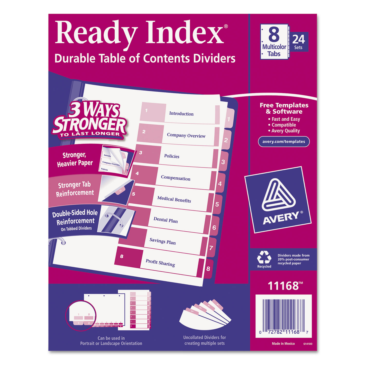 Ready Index Customizable Table Of Contents Asst Dividers By Avery