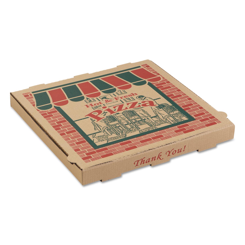 Corrugated Pizza Boxes, 10 x 10 x 1 3/4, Kraft, 50/Carton