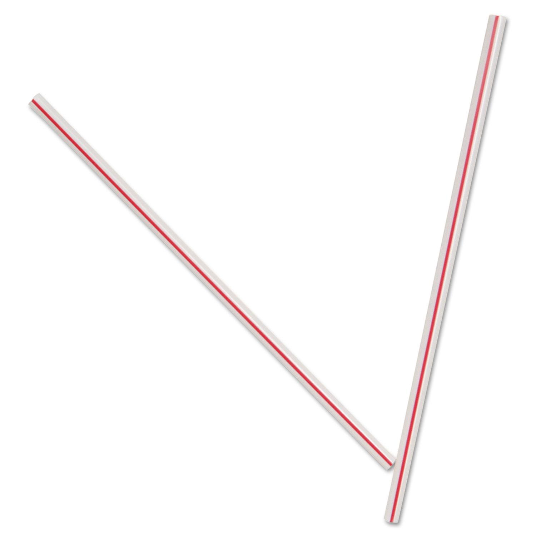 Unwrapped Hollow Stir-Straws, 5″, Plastic, White/Red, 1000/Box, 10 Boxes/Carton