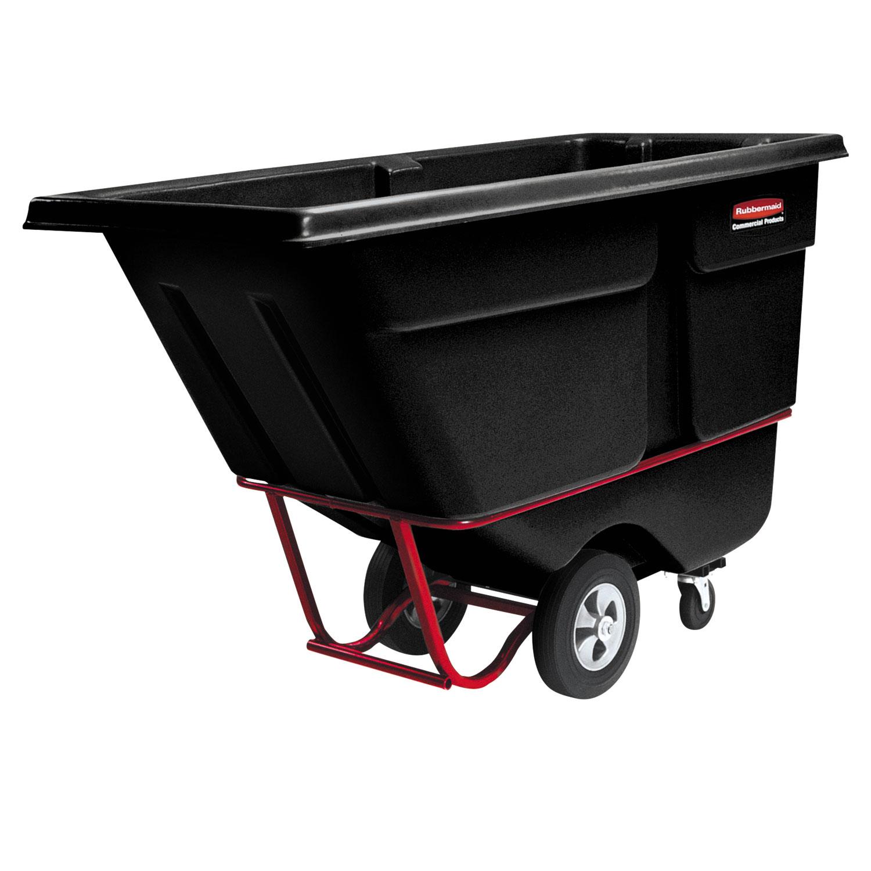 Commercial Rotomolded Tilt Truck, Rectangular, Plastic, 1,250 lb Capacity, Black