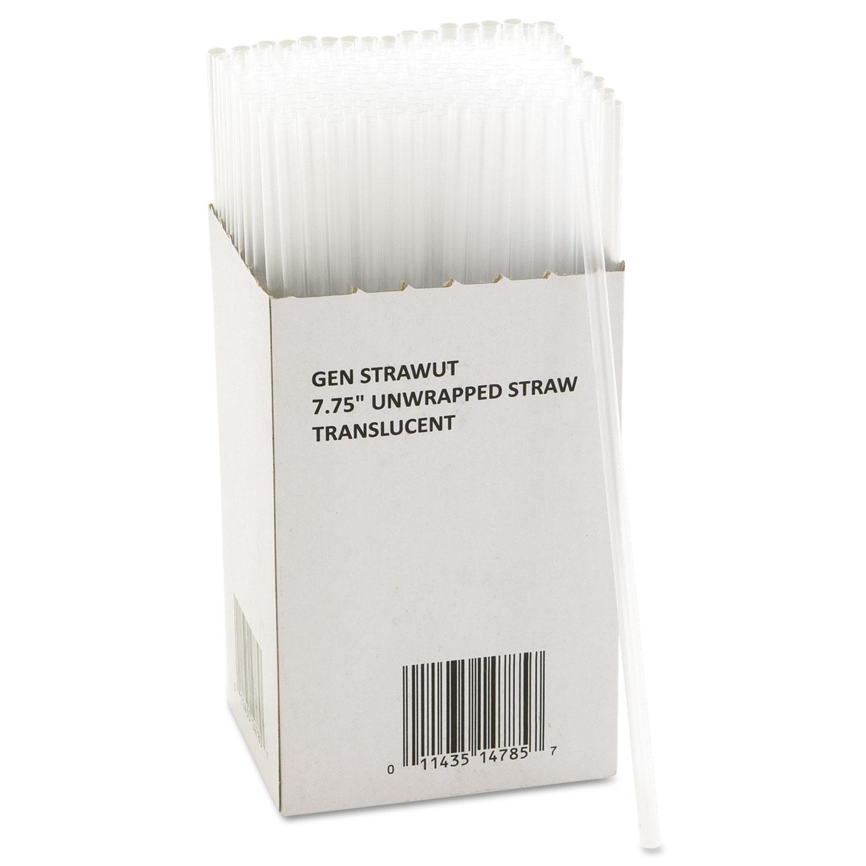 Unwrapped Jumbo Straws, 7 3/4″, Translucent, 225/Pack, 50 Packs/Carton