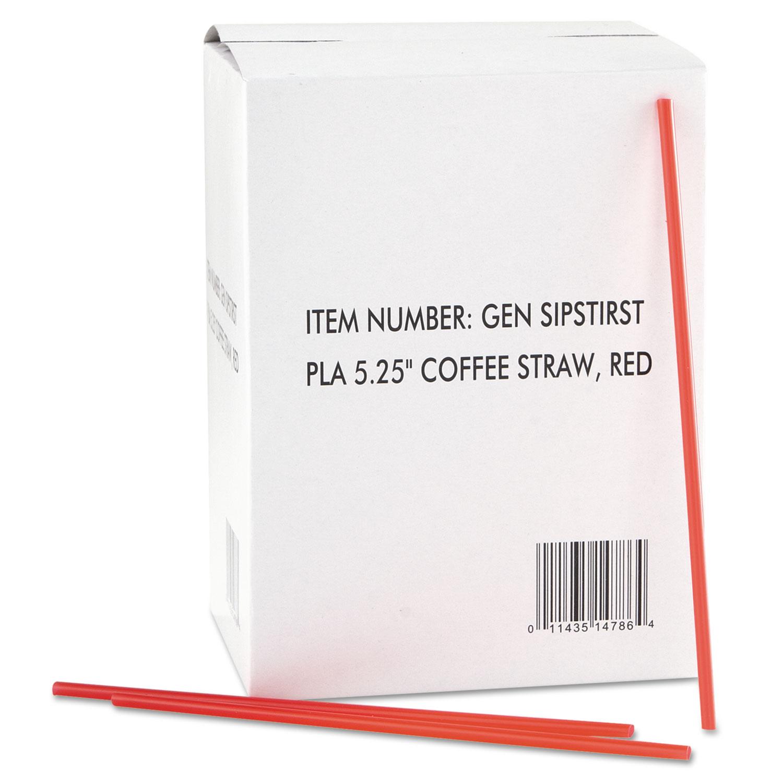 Coffee Stirrers, Red/White, Plastic, 5 1/4″, 1000/Box, 10 Boxes/Carton